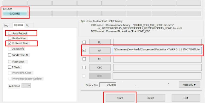 Install TWRP Samsung Galaxy S8 (SM-G950F)