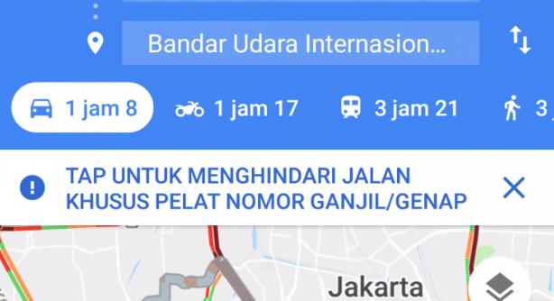Melihat Jalur Ganjil Genap Dengan Google Maps