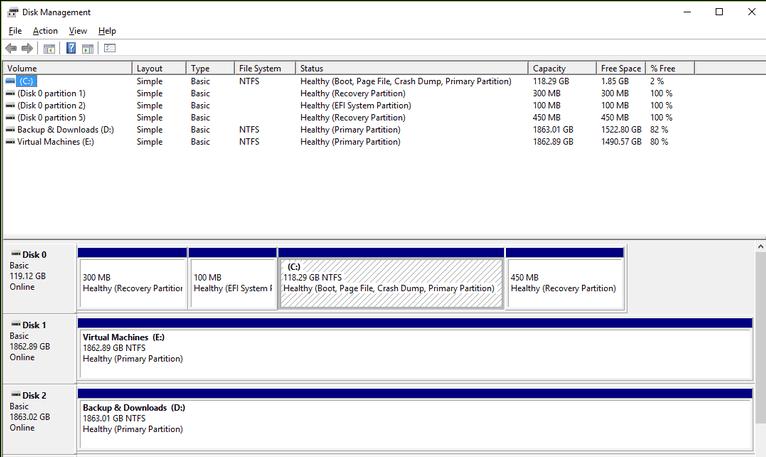 Melihat Kondisi Harddisk Disk Management