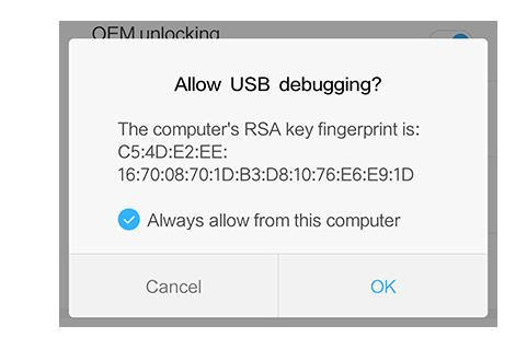 usb debugging authorized