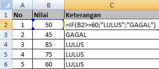 Rumus IF Excel dengan 2 kondisi