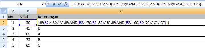 Rumus IF Excel dengan 4 Kondisi